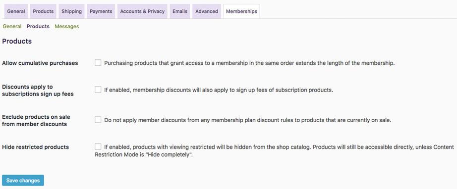 memberships-settings-products